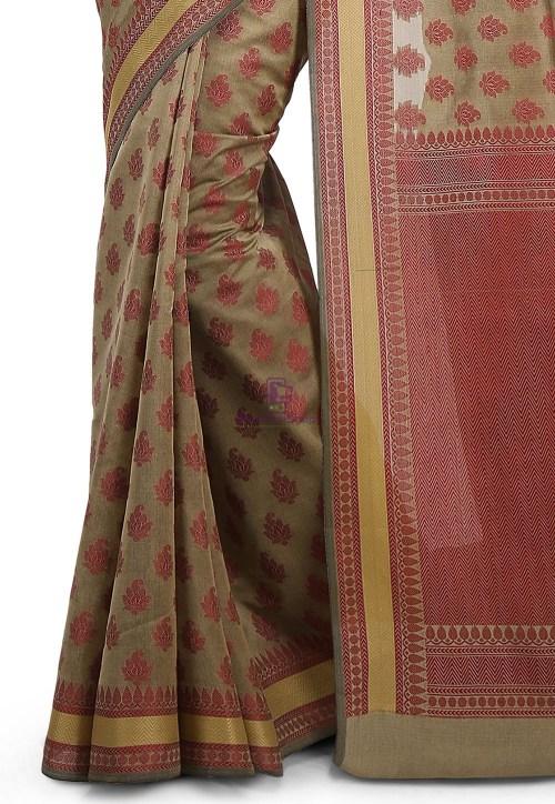 Woven Banarasi Art Silk Saree in Beige 7