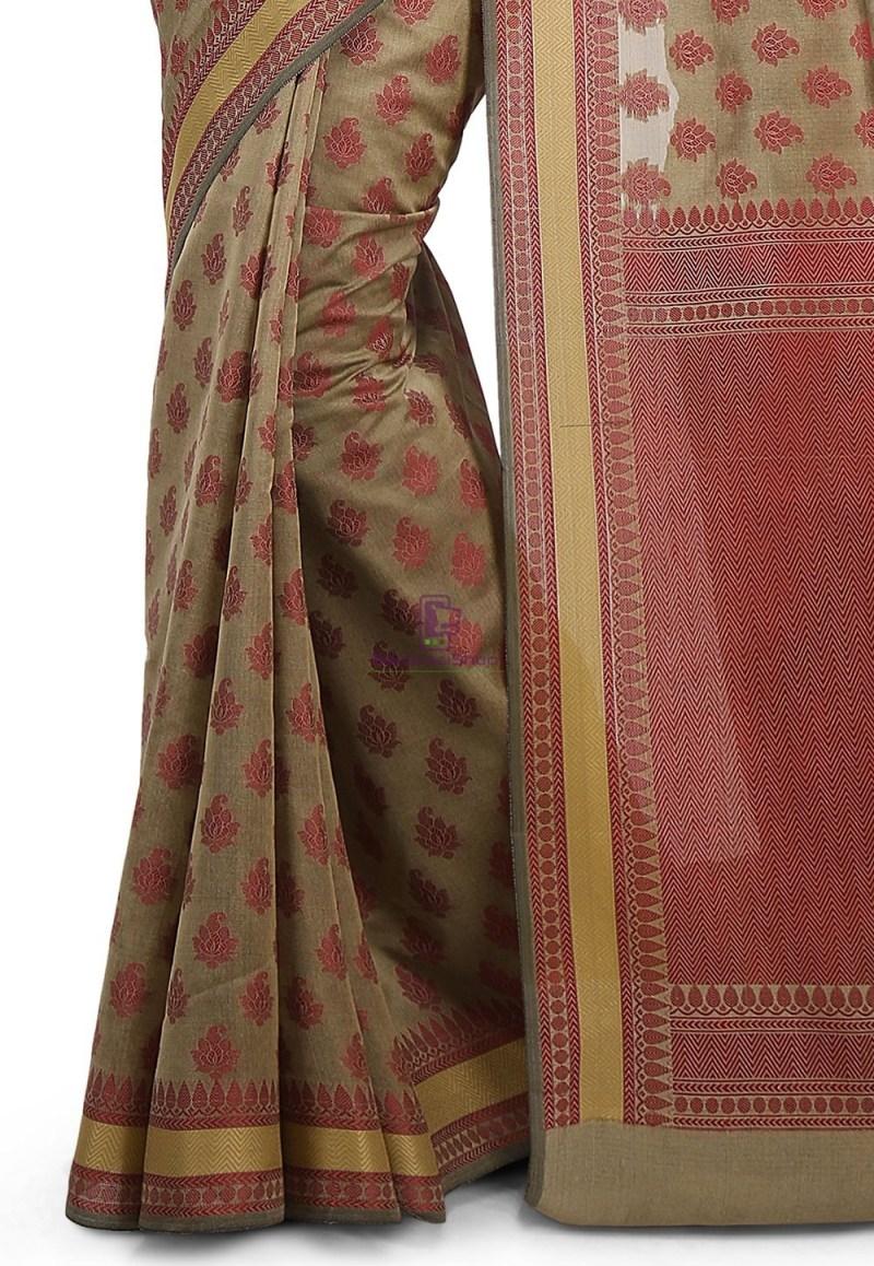 Woven Banarasi Art Silk Saree in Beige 3