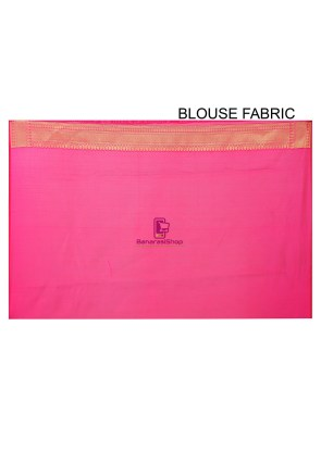 Woven Banarasi Chanderi Silk Saree in Fuchsia 5