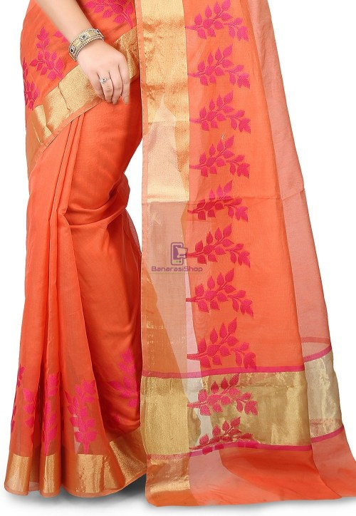 Woven Banarasi Chanderi Silk Saree in Pastel Orange 5