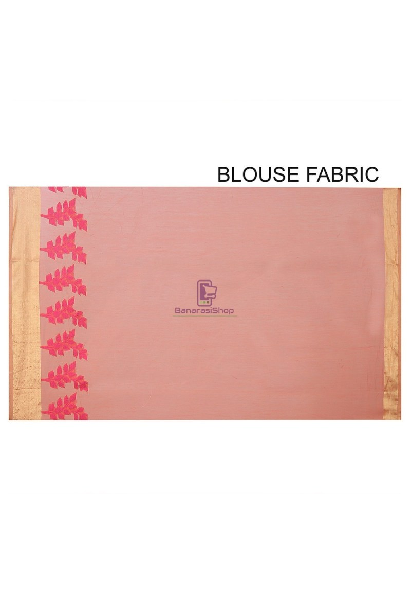 Woven Banarasi Chanderi Silk Saree in Pastel Orange 2