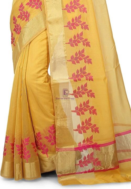 Woven Banarasi Chanderi Silk Saree in Yellow 5