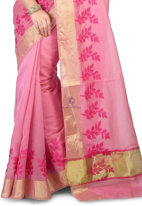 Woven Banarasi Chanderi Silk Saree in Pink 5