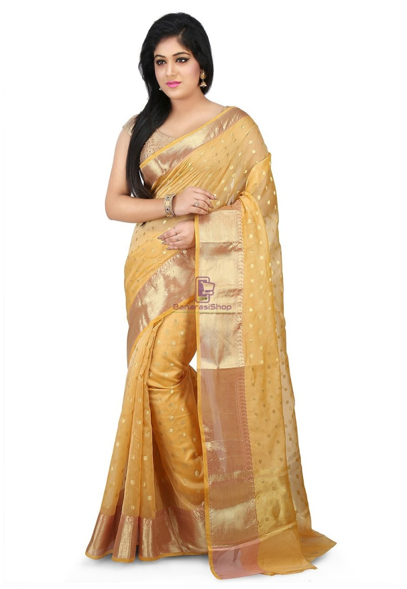 Woven Banarasi Chanderi Silk Saree in Light Yellow 1
