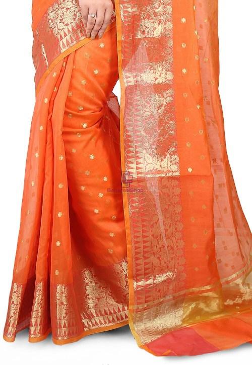Woven Banarasi Chanderi Silk Saree in Orange 5