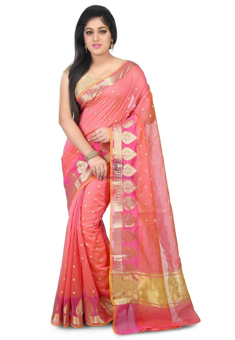 Woven Banarasi Chanderi Silk Saree in Pink 1