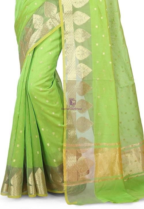 Woven Banarasi Chanderi Silk Saree in Light Green 5