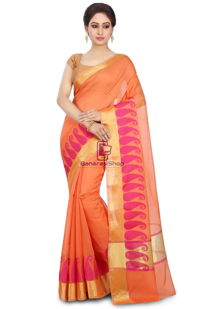 Woven Banarasi Chanderi Cotton Saree in Orange 1