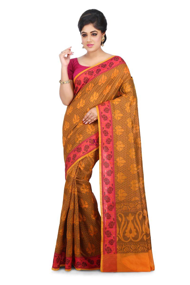 Woven Banarasi Cotton Silk Saree in Orange 1