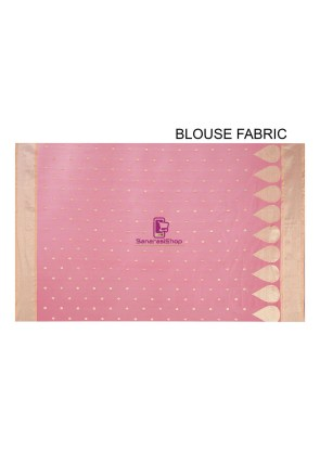 Woven Banarasi Chanderi Silk Saree in Pink 9