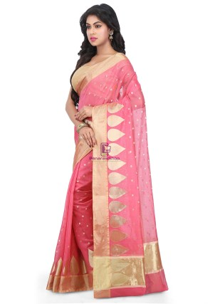 Woven Banarasi Chanderi Silk Saree in Pink 7