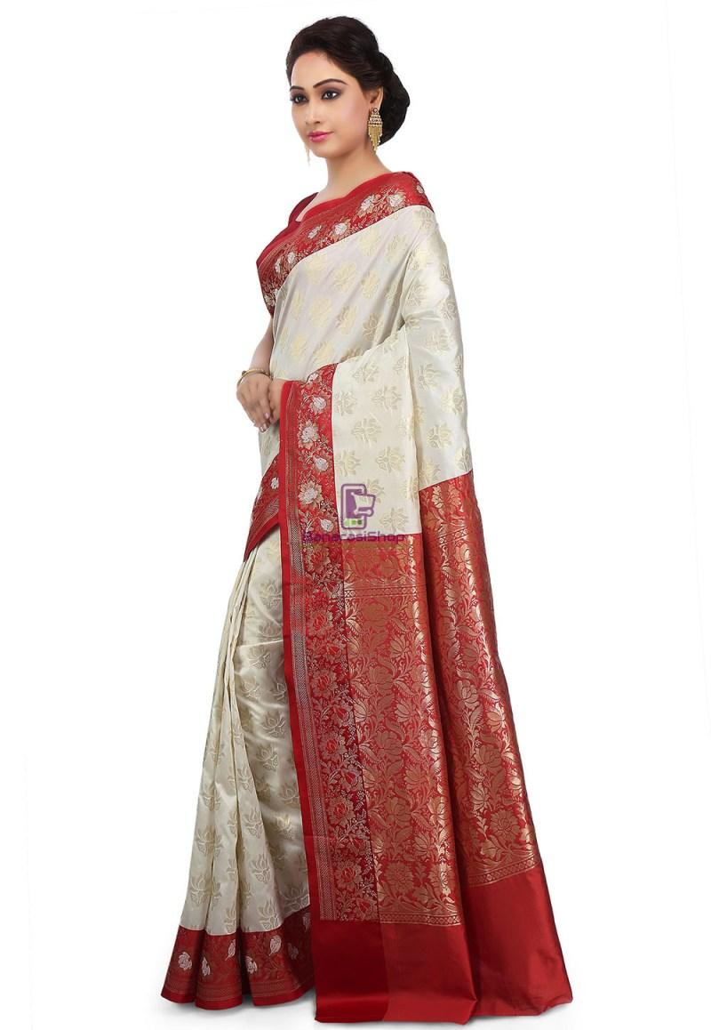 Woven Banarasi Art Silk Saree in Off White 5