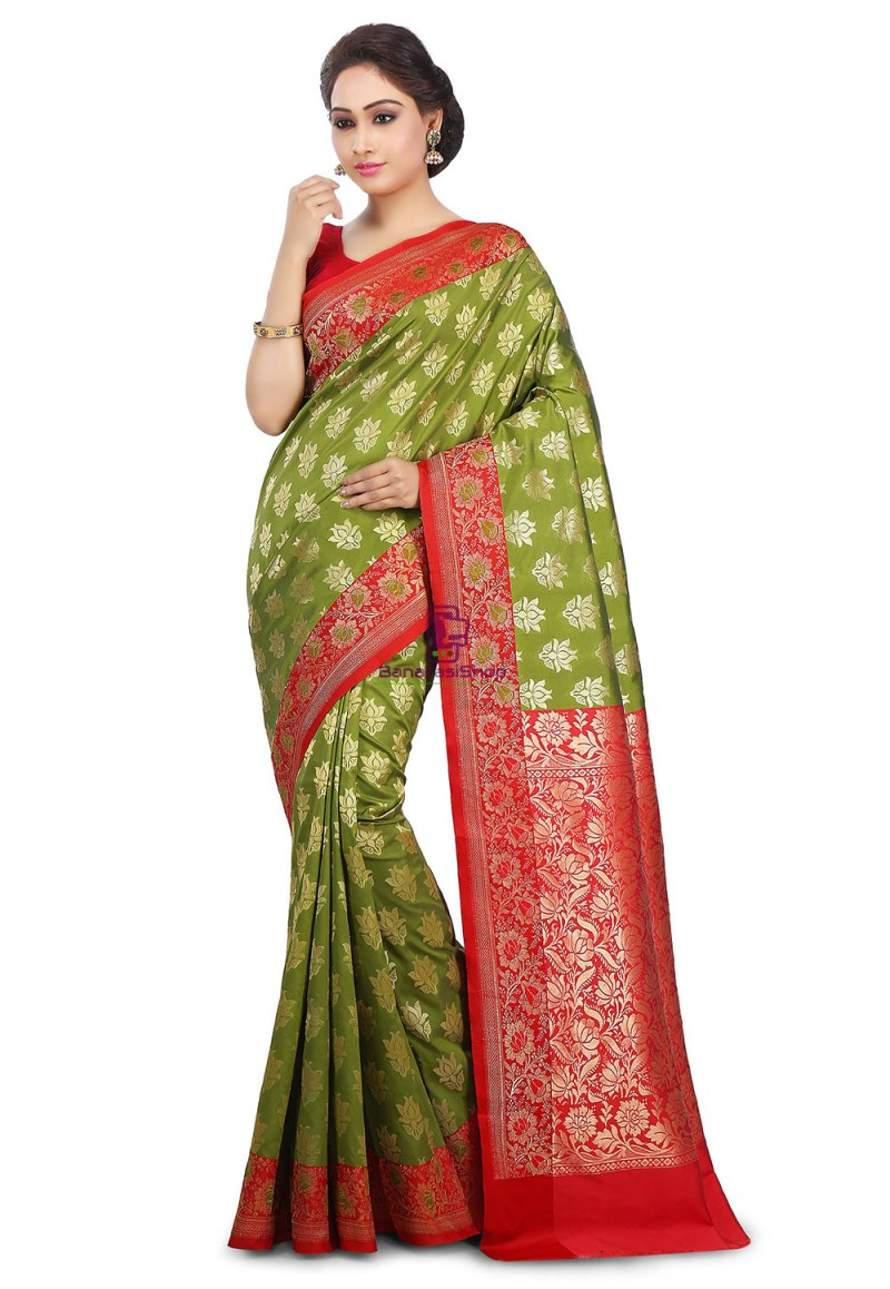 Woven Banarasi Art Silk Saree in Olive Green and Red 1