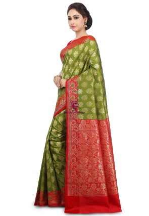 Woven Banarasi Art Silk Saree in Olive Green and Red 11