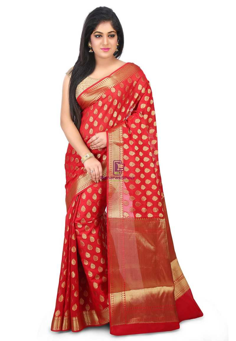 Woven Banarasi Chanderi Silk Saree in Red 1