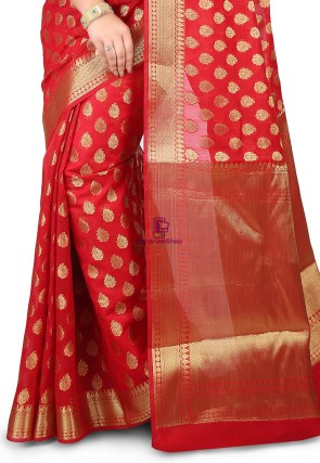 Woven Banarasi Chanderi Silk Saree in Red 4