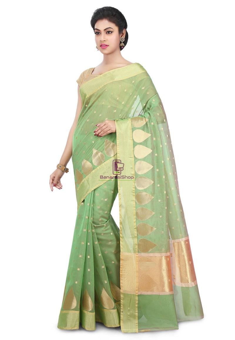 Woven Banarasi Chanderi Silk Saree in Pastel Green 1