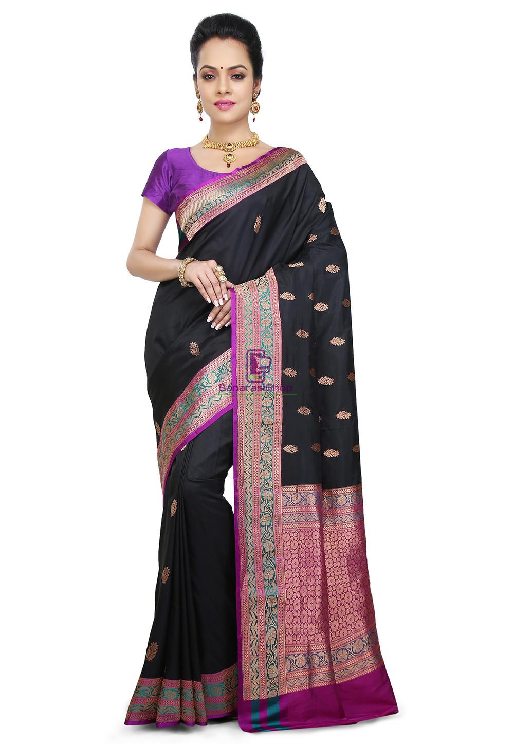 6a813998c0 Banarasi Pure Katan Silk Handloom Saree In Black | BanarasiShop