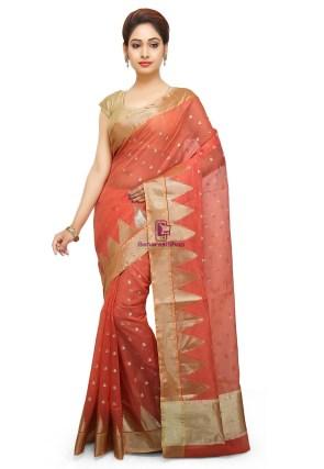 Woven Banarasi Cotton Silk Saree in Dark Peach 5