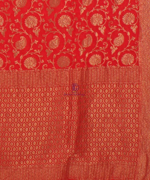 Pure Banarasi Handloom Khaddi Georgette Silk Saree in Red 6