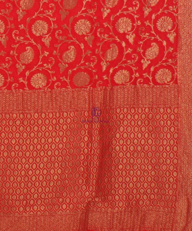 Pure Banarasi Handloom Khaddi Georgette Silk Saree in Red 3