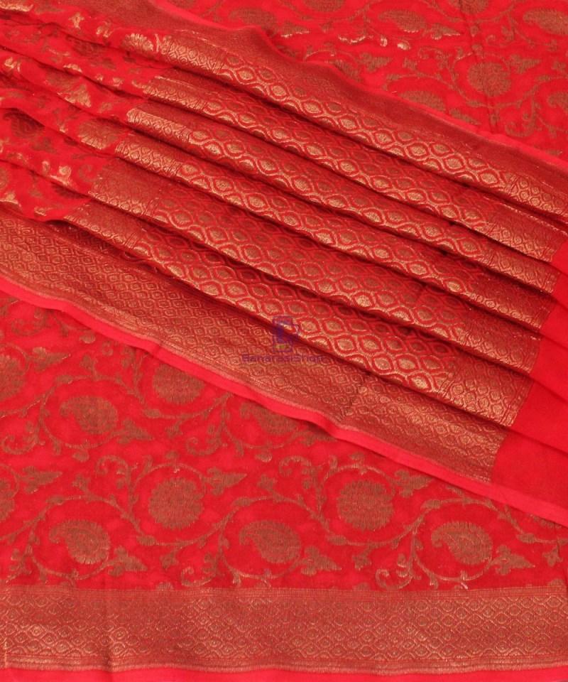 Pure Banarasi Handloom Khaddi Georgette Silk Saree in Red 1