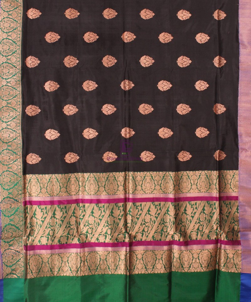 Banarasi Pure Katan Silk Handloom Saree in Black Green 2