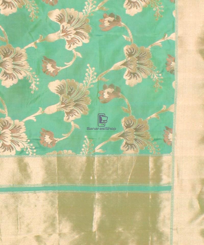 Pure Banarasi Uppada Handloom Silk Saree in Mint Green 3