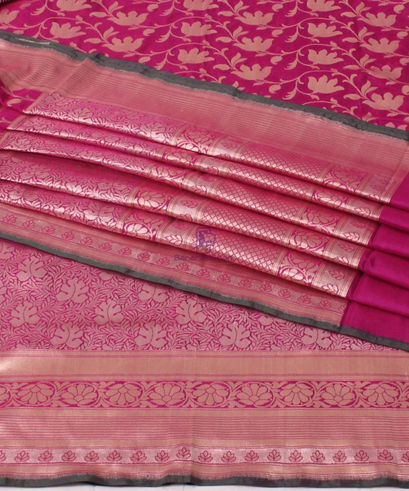 Pure Banarasi Uppada Handloom Silk Saree in Purple 1