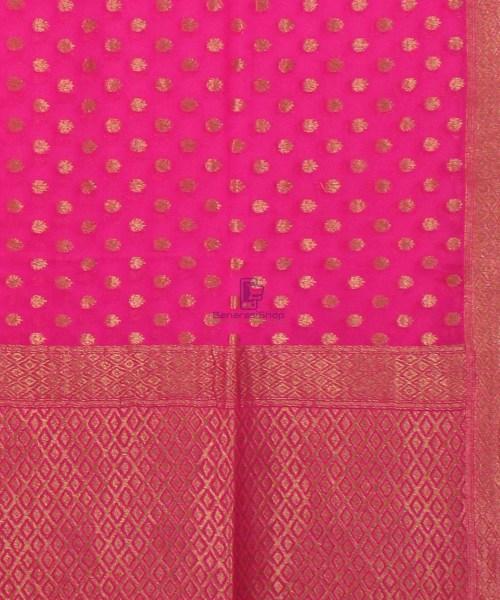 Pure Banarasi Handloom Khaddi Georgette Silk Saree in Pink 5