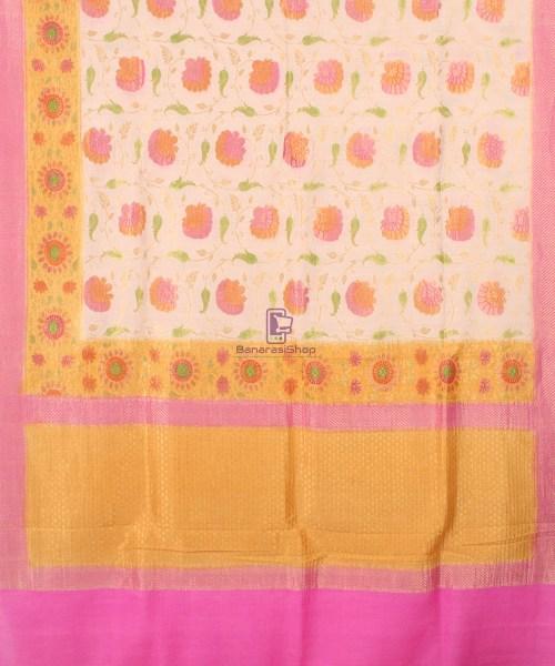 Pure Banarasi Muga Silk Handpainted Jaal Saree in Beige 5