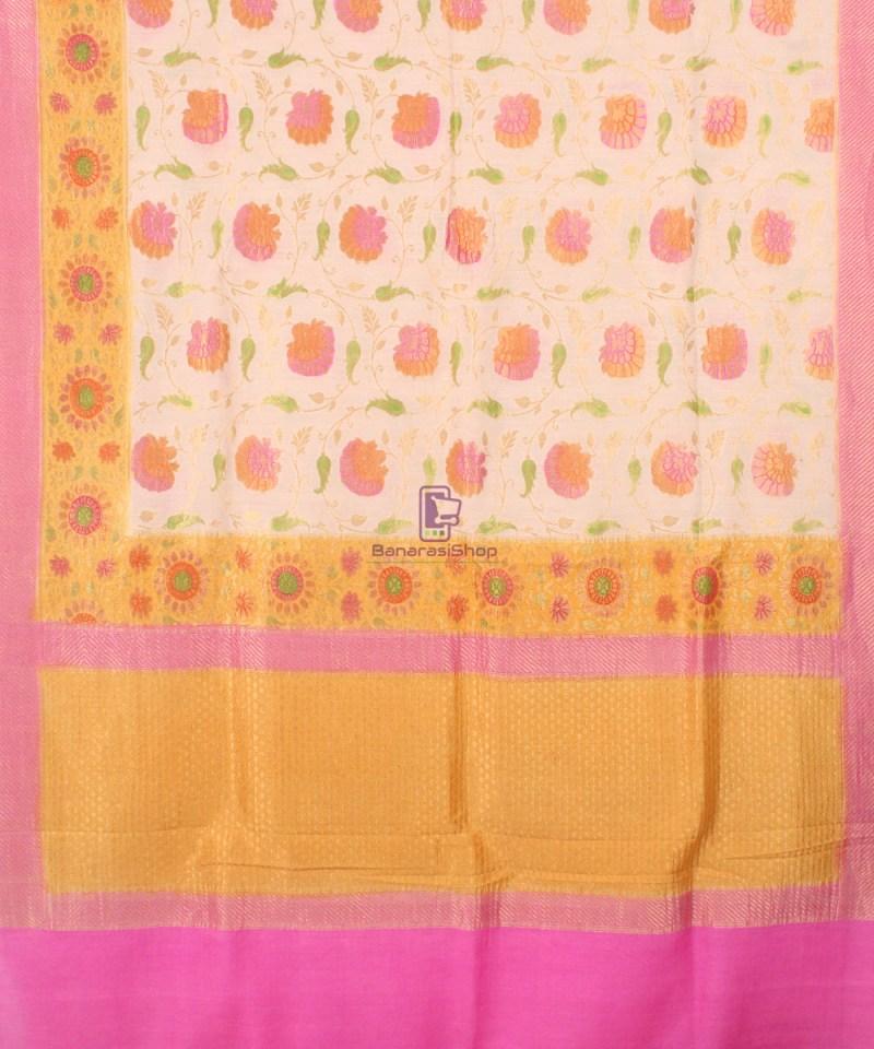 Pure Banarasi Muga Silk Handpainted Jaal Saree in Beige 2