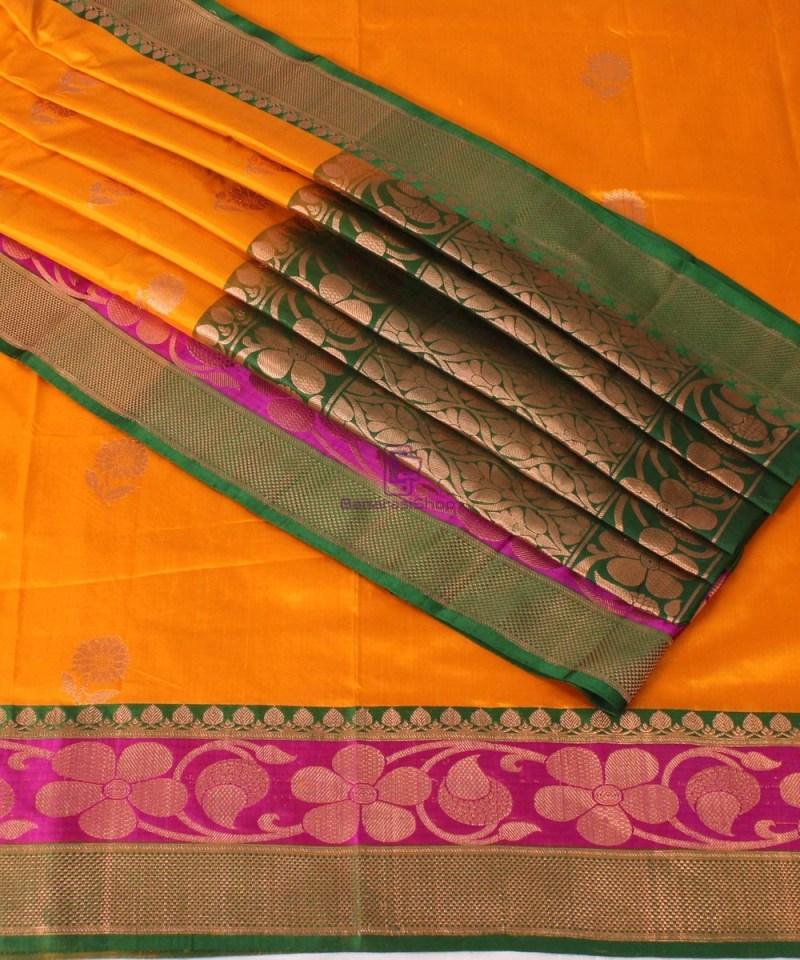 Banarasi Pure Katan Silk Handloom Saree in Yellow Green 1