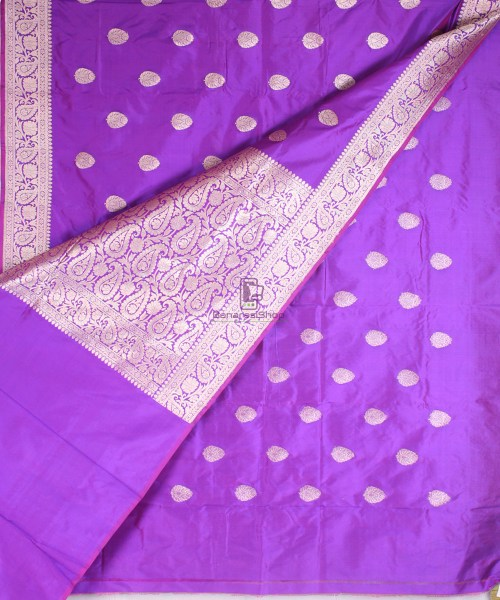 Handwoven Banarasi Katan Pure Silk Saree in Vilot 5