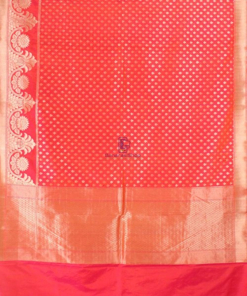 Pure Banarasi Uppada Handloom Silk Saree in Bright Red 5