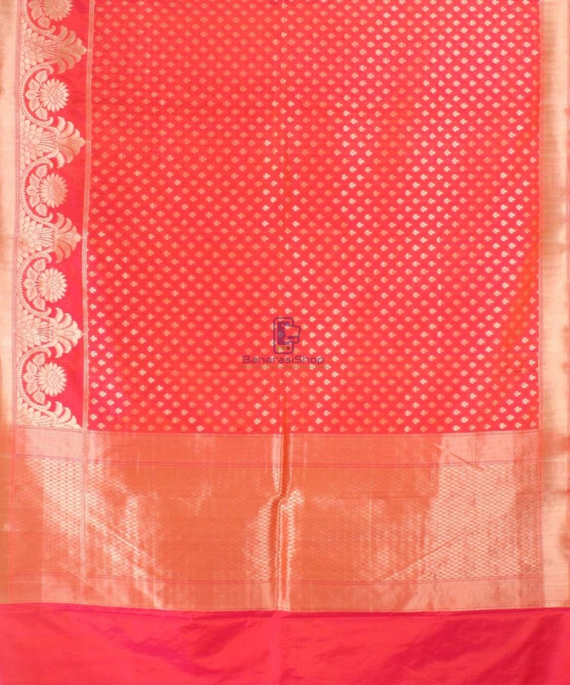 Pure Banarasi Uppada Handloom Silk Saree in Bright Red 2