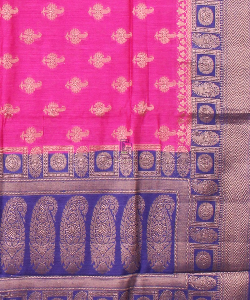 Pure Banarasi Muga Silk Saree in Pink and Violet 3