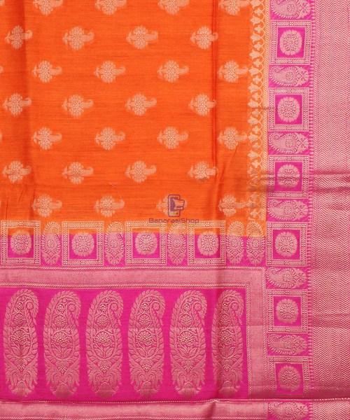 Pure Banarasi Muga Silk Saree in Orange and Pink 6