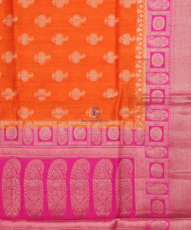 Pure Banarasi Muga Silk Saree in Orange and Pink 3