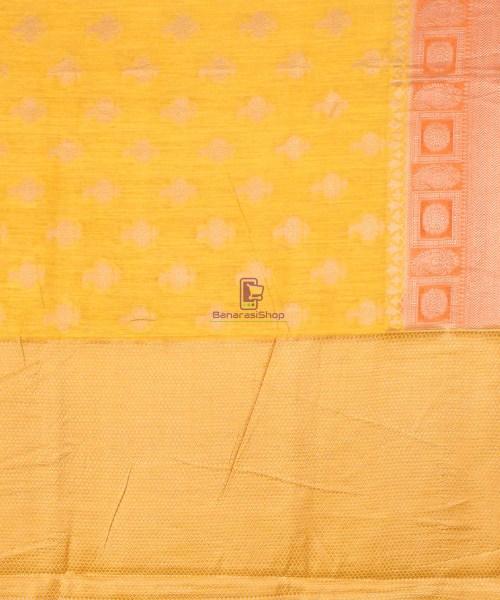 Pure Banarasi Muga Silk Saree in Yellow and Saffron Brown 7