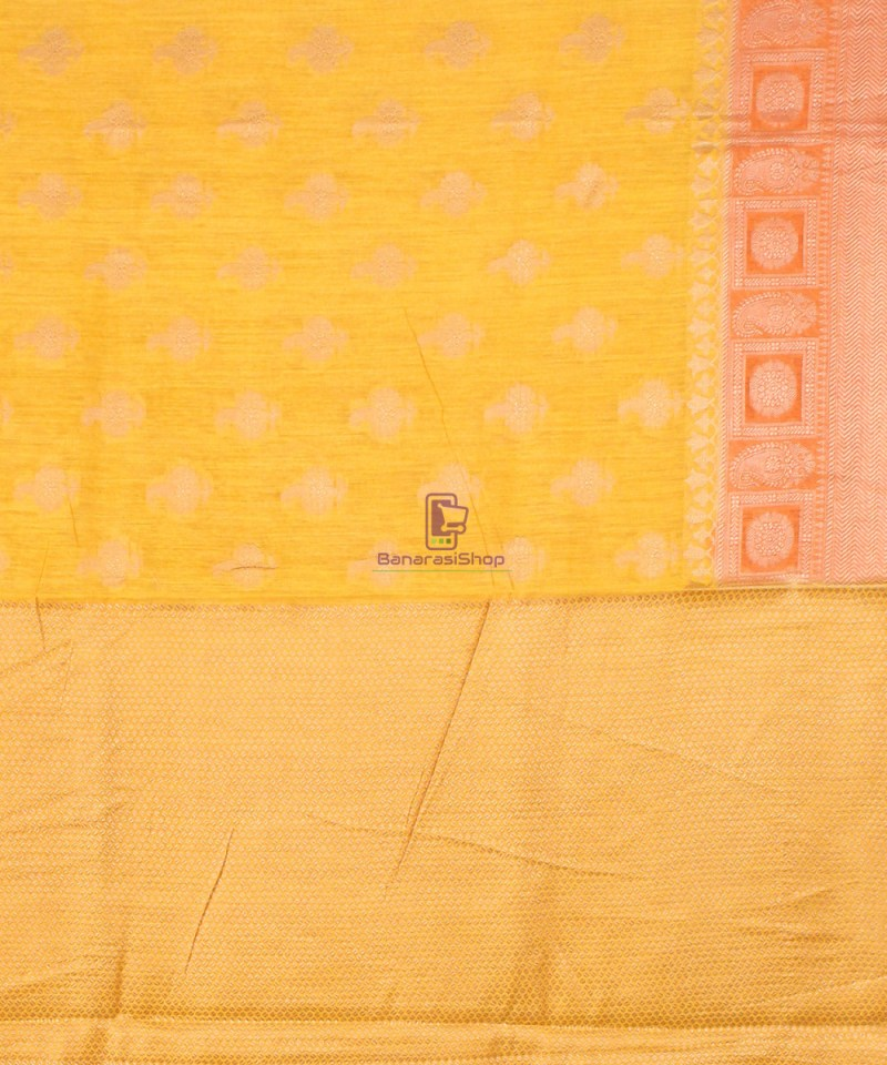 Pure Banarasi Muga Silk Saree in Yellow and Saffron Brown 4