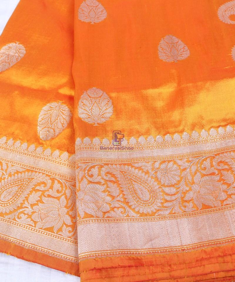 Handwoven Banarasi Katan Pure Silk Saree in Yellow 1