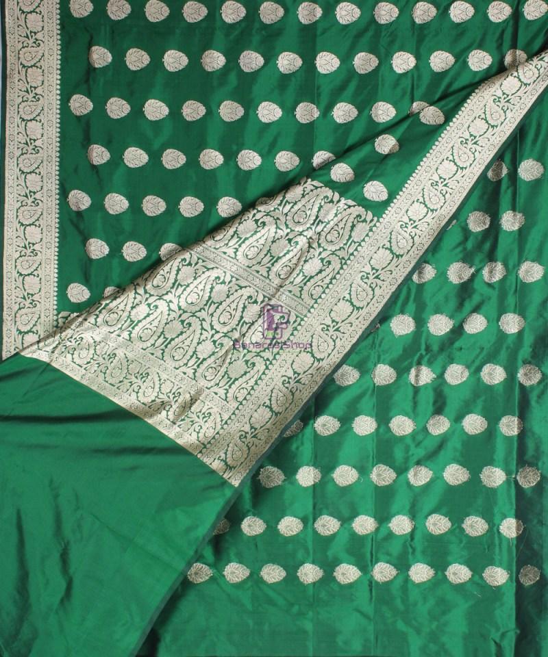 Handwoven Banarasi Katan Pure Silk Saree in Green 3