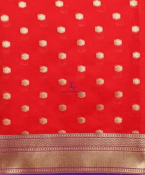 Woven Banarasi Art Silk Dupatta in Red 5