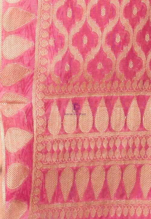 Banarasi Cotton Silk Dupatta in Pink 3