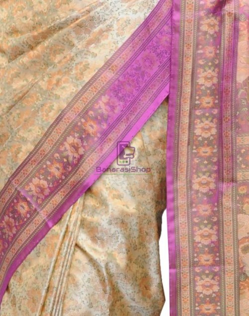 Pure Banarasi Handloom Jamawar Tanchoi Silk Saree in Cream and Pink 9