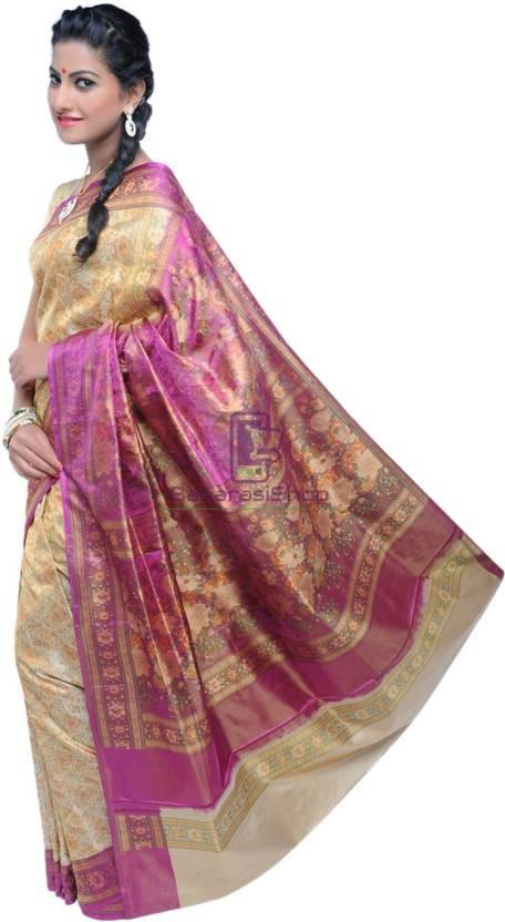 Pure Banarasi Handloom Jamawar Tanchoi Silk Saree in Cream and Pink 2