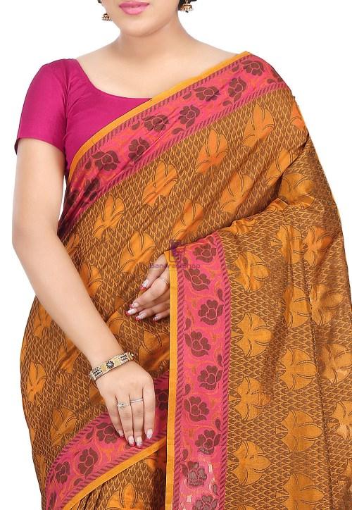 Woven Banarasi Cotton Silk Saree in Rust 5