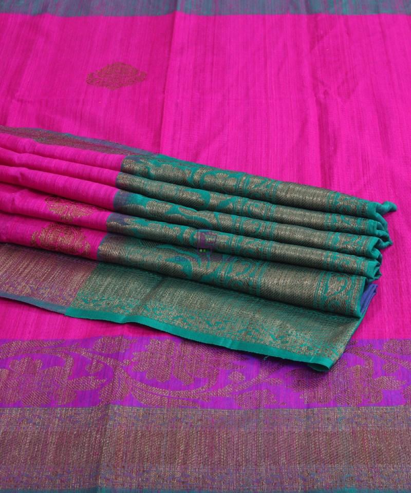 Banarasi Pure Handloom Dupion Silk Fuschia Pink Saree 1