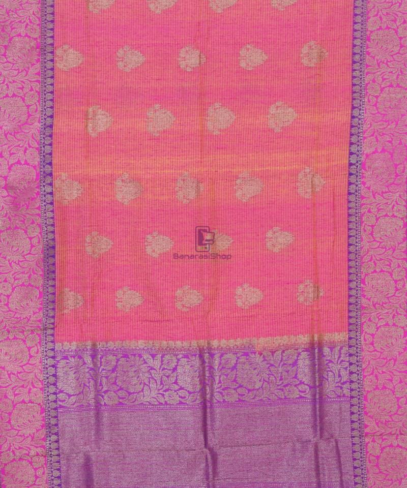 Banarasi Pure Handloom Dupion Silk Watermelon Pink Saree 1